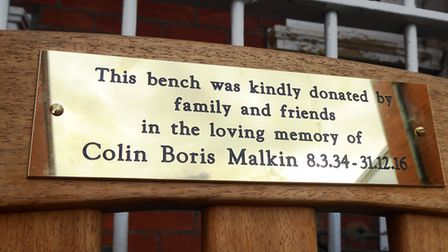 The bench was bought in memory of Colin Malkin, who died on New Year's Eve aged 82.