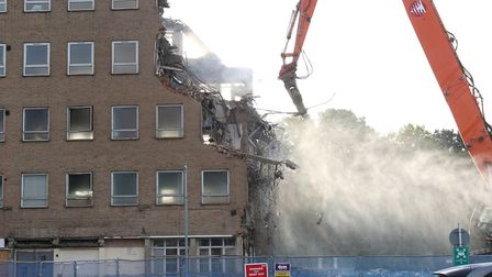 Demolition of the old QEII hospital continues.