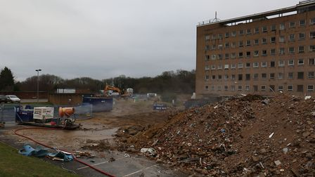 The machine used to dampen the dust from the QEII demolition.