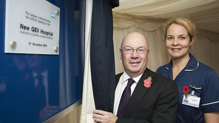 The New QEII Hospita lwas opened by the Right Honourable Alistair Burt, pictured with Dagmar Louw b
