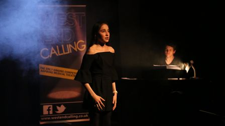 Jaynie Awcock performing in the final of West End Calling.