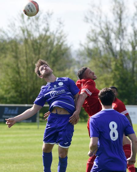 Action from Wisbech St Mary's 2-0 defeat to Stowmarket Town. PHOTO: Ian Carter