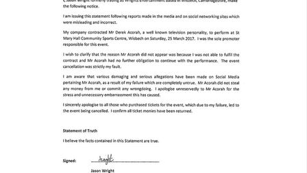 Statement issued by Jason Wright through his solicitors admitting he spent ticket money ahead of Der