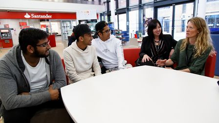 Students with Emma Lewis, Community Liaison and Support Officer at the University of Hertfordshire,