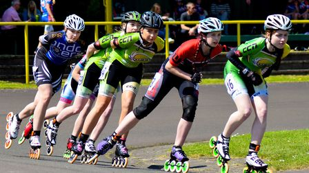 Eve McInerney - who recently qualified for Great Britain - in action at Birmingham Wheels. PHOTO: Pa