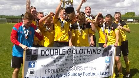 CSKA Emneth celebrate their King's Lynn and District Sunday League Division One win.