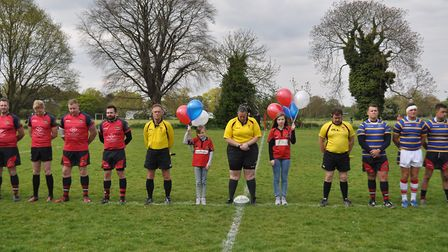 Organisers Asteja and Samata Urbonavica (centre) before the kick-off of the Wisbech RFC President's
