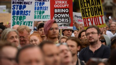 'Stop Boris' protestors outside the Houses of Parliament. Photograph: Kirsty O'Connor/PA.