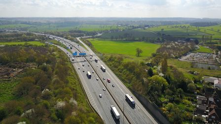 The M25 from the air looking down towards South Mimms [Picture: Atlas Drones]