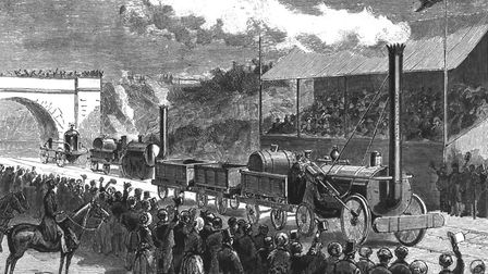 English railway engineer George Stephenson's locomotive 'Rocket' comes in first at the trials compet