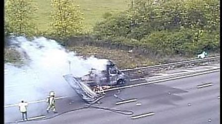 Highways England tweeted this picture of a vehicle fire between Junction 26 and 27 on the M25. Cred