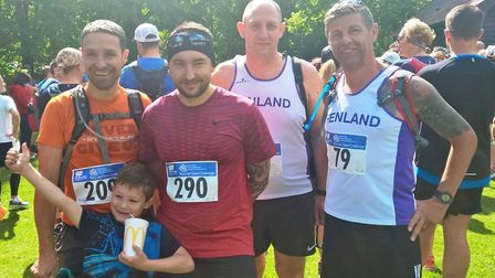 Andre Pittock, Matt Warren, Neil Bailey and Sean Connolly after completing the Bury to Clare 18 Mile