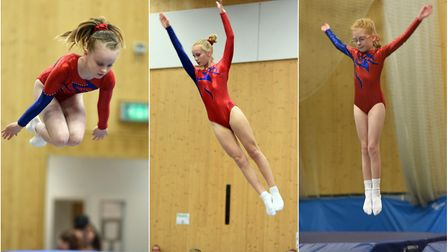 Matilda Pearson, Paige Markham and Lucy Prior in action at Fenland Flyers' trampolining competition.
