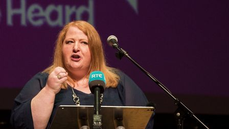 Alliance Party of NI leader Naomi Long MEP speaks at a People's Vote rally in Belfast. Photograph: L