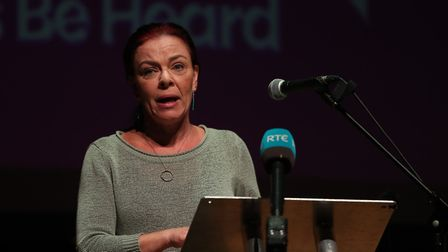 Green Party in Northern Ireland leader Clare Bailey speaks at a People's Vote rally at Ulster Hall i