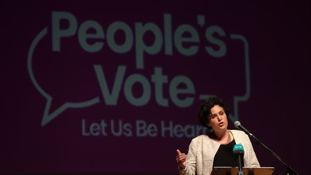 Claire Hanna of the SDLP speaks at a People's Vote rally at Ulster Hall in Belfast. Photograph: Liam