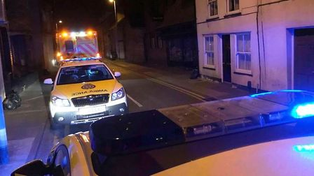 A man in his 20s was taken to hospital with serious injuries last night after a collision with a tax
