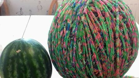 Loom band ball made by Jade Farm who is raising money for charity