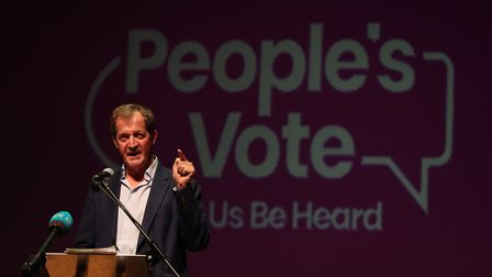 Alastair Campbell speaks at a People's Vote rally. Photograph: Liam McBurney/PA.