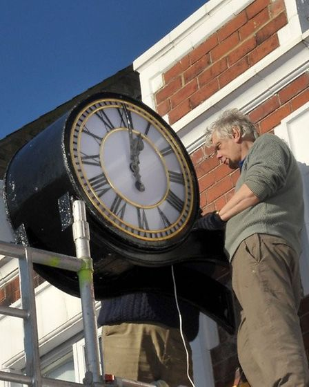 Dann's Clock when it was being installed over WH Brown in Bridge Street, Wisbech, in 2015. Picture: