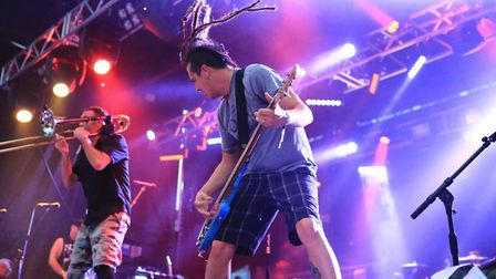 Roger Lima and Buddy Schaub of Less Than Jake at Slam Dunk Festival South 2017 in Hatfield [Picture: