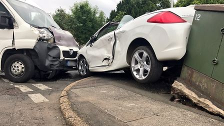 A silver van and white car were involved in a collision on Queens Road, Wisbech, on Friday (June 2).