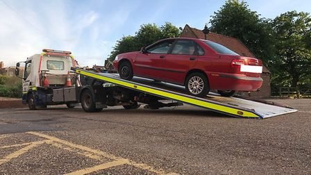 This red Volvo was seized in Wisbech after its driver was caught drink driving on CCTV. PHOTO: Fen C