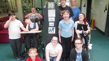 Meadowgate Academy students with the Meadowfest countdown clock. PHOTO: Emma Bird.