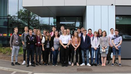Students at College of West Anglia's Wisbech campus with custodial manager Emma Wilson, from Whitemo