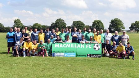 Macmillan FC step onto pitch for final Fenland game having raised 20,000. PHOTO: Ian Carter.