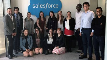 Team Falcon, made up of seven students from Bishop's Hatfield Girls' School, visited Salesforce Towe