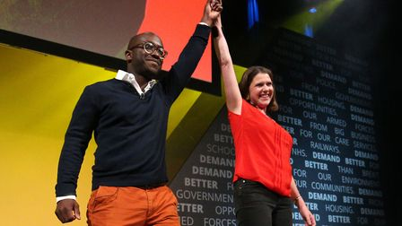 Former Tory minister Sam Gyimah, who has defected to the Liberal Democrats, with leader Jo Swinson.