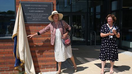 Lady Salisbury officially opens the new building at Bishop's Hatfield Girls' School with headteacher