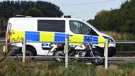 Two men were injured in a collision between a motorcycle and a car.= at Leverington crossroads on Mo