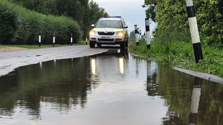 Police issue warning to motorists in Fenland following thunderstorm. PHOTO: Facebook / Policing Wisb