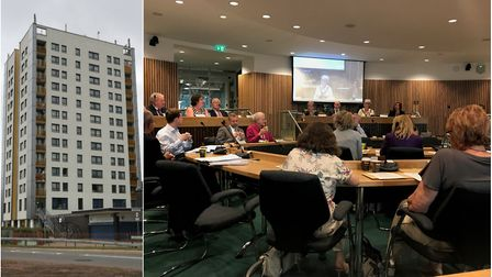 Left: Queensway House in Hatfield. Right: Yesterday's full council meeting.