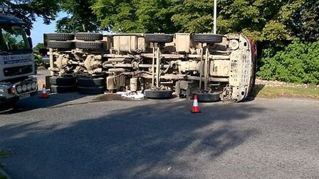 A lorry has overturned on the A414 near Hatfield. Picture credit: BHC Road Policing.