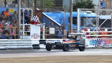 Randal Lynn on his way to winning the 2017 National Superstox Championship.
