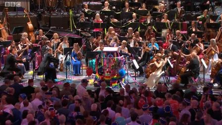 Pro-European berets at the front of the crowds at Last Night of the Proms. Photograph: BBC.