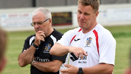 Wisbech Town boss Dick Creasey (left) and new assistant manager Martyn Bunce (right). Picture: IAN C