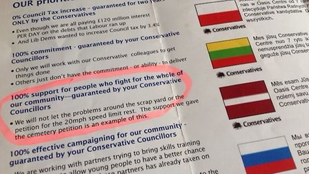 The Conservative party's leaflet from 2011 clearly shows a promise for 20mph speed limits.