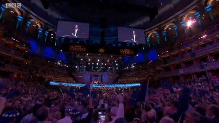 European flags at the Last Night of the Proms. Photograph: BBC.