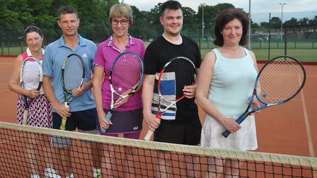 Wisbech Tennis Club's title-winning team of Wendy Cropp, Gary Fitzjohn, Jane Page, Jac Goult and Mar
