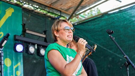 Donna Lee from Macmillan addressed the crowd to thank them for supporting the event. Picture: Luke D