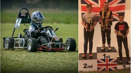 Rihanna Regan in action (left) and on the podium after finishing in first place at the 90 CC Go-Kart