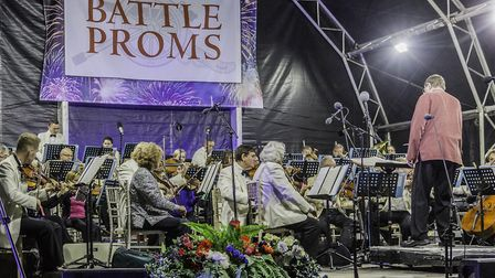 Douglas Coombes conducts the 60-piece New English Concert Orchestra at the Battle Proms