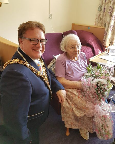 Nora Drew celebrates her 100th birthday with a surprise visit from the Mayor of Wisbech, Councillor