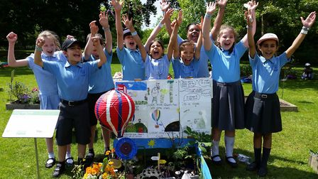 Members of Northaw Primary School's gardening club celebrate their success at the RHS Wisley show.