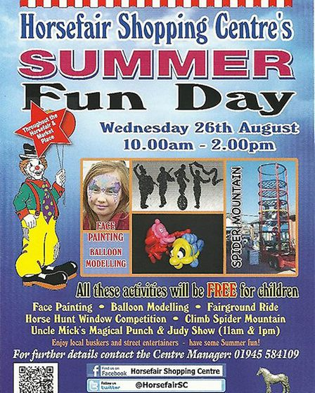 Wisbechs annual Horsefair Shopping Centre summer fun day will take place on Thursday July 27 from 10