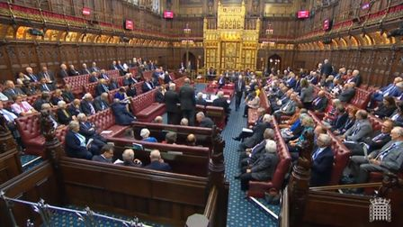 The House of Lords during the vote on the Brexit delay bill. Photograph: Parliament TV.